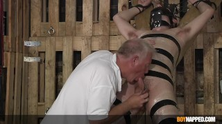 Bound twink sub Chase Parker dominated and tormented by dom