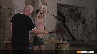 Blindfolded sub Nathan Reyes whipped by his master Sebastian