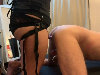 1st time pegging for sub in chastity