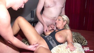 German MILF Teach Two older Nerds to Fuck in Amateur Threesome