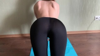 juicy POV Blowjob , the girl in the cum on leggings, yoga pants