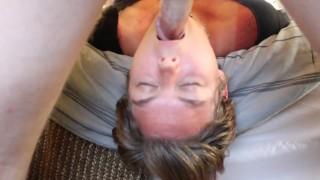 submisive slut sucks balls after deepthroat facefuck