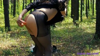 SISSY SOLO MASTURBATION IN THE WOODS