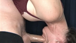 Sexy slut deepthroats a big dick while hanging upside down