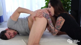 GIRLSRIMMING - Hot kinky rimming with brunette inked beauty Ann Rii
