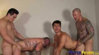 PETERFEVER Muscular Asian Daddies Fuck Hard In Foursome