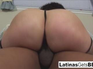Boiling hot latina BBW takes a thick ebony shaft on the mattress!