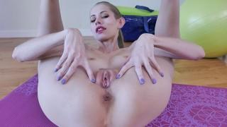 Blonde Skinny Wife Pleases Herself On Yoga Mat