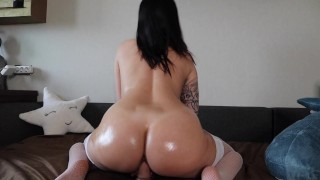 AHEGAO FACE; OIL BODY; RIDING ON HUGE COCK