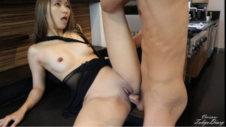 Cute Japanese Roommate Getting Fucked in the Kitchen Before Breakfast - TokyoDiary