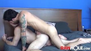 RAWHOLE Inked Stud Nick Hole Gives Head Before Bareback Fuck