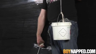 Sebastian Kane blows twink Max Brown through plastic wrap