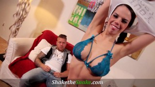 Shake The Snake - Young Petite Teens Taking 10'' Cock