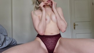 Just a little teasing my little titties and pussy in my see through victorias secret panties