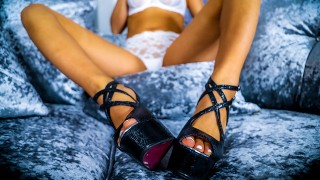 FINISH ALL OVER MY SEXY ARCHED FEET IN STILETTOS