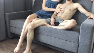 My girlfriend switched off football and I fucked her on the table and creampie her pussy
