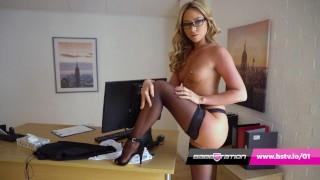 Sexy secretary striptease with British pornstar Natalia Forrest