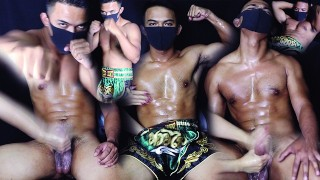 NEW HOT! BOXER STRAIGHT GUY CUMCONTROL AFTER WORK OUT CUM EXPLOSION 直男泰拳!被玩鸡吧射得很高 欢迎中国观众