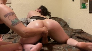 Transgirl Gets Dommed by Big Titty Latina and Gives Her A Creampie