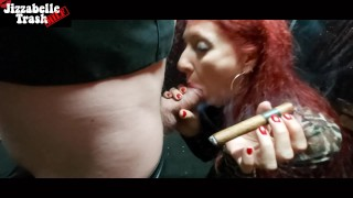 Messy Red Lips Cigar and Cigarette SMOKING blowjob - Tribute to C.J.