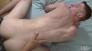 Ginger Twink Gaping Hole From Riding Fat Dick Daddy Fucking His Straight Teen Bud