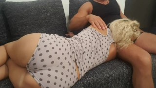 stepmom & stepson relax too much on the couch