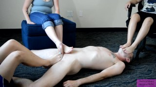 TSM - Foot smother during double footjob with Dylan, Stitch, & Luna