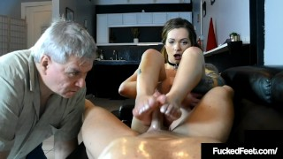 Foot Fucked Maria Marley Bitches At Fan While Milking Dick!