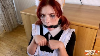 Deep Sloppy Blowjob from Sweetie Fox in School Uniform - Cum on Glasses