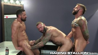 3 Muscle Bear Strippers Pound It Out In The Dressing Room - RagingStallion