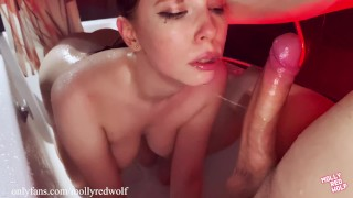 Creampie in pussy. Fucked me in the shower without permission - 4K