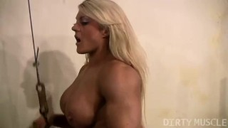 Buffed British muscle babe works out naked in the gym big clit