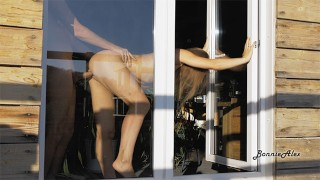 Hot Blonde Gets Fucked In Front Of The Window! Spying Through Window