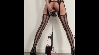 Crossdresser in sexy lingerie anal fucked by huge dildo on fuck machine and cumed