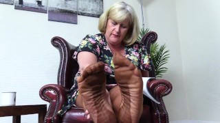 Nasty, Foot Fetish Aunty wants you to smell her Stocking Feet.