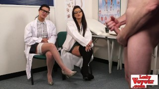 English voyeur nurses instructing tugging guy