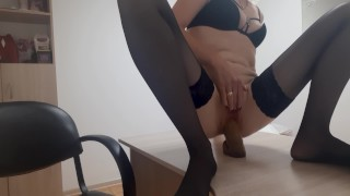 Public risky masturbate at work in office