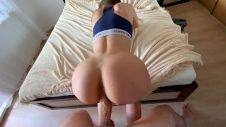 stepcousin loves training on my cock-cum on her ass