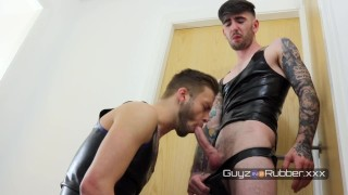 LATE TO THE PARTY. TWO RUBBER GUYS Ready to Party but instead wank and fuck their brains out
