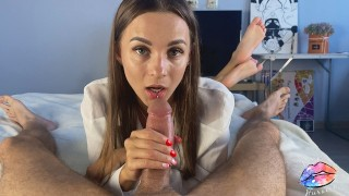 Gentle blowjob from a sexy brunette - DIANA HURACAN