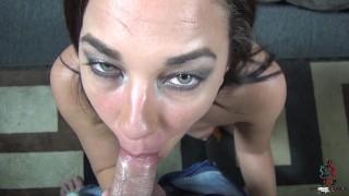 Amara Romani sucks a little cock with chocolate syrup