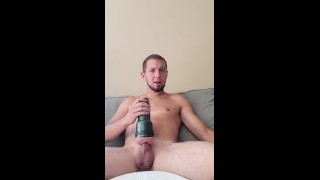GIRTHYYYYGARYYY Stuffs Wet Fleshlight Full Of His Massive Cock Til Cumming All Over Himself!!