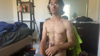 Guy with cerebral palsy trying to jerk off to porn