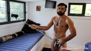 Bearded Hairy Batt Dude Gets Himself Off At Home in Sydney Australia
