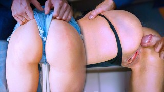 AMATEUR CLOSE UP PUSSY FUCKING IN THE KITCHEN AND GENTLE ASS SPANKING - POV PUSSY CUMSHOT