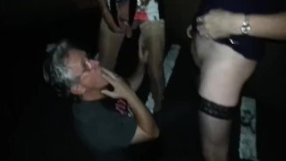 John gets pissed on by Lisa and Pauline in the car park