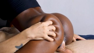 Fit black girl rides my cock with creamy pussy until she squirts on me while I blow my load