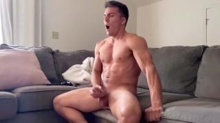 Hunk has INTENSE orgasm