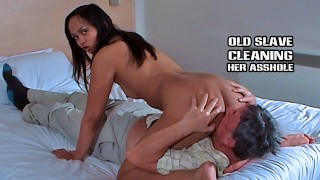 Older slave cleans feet pussy and asshole