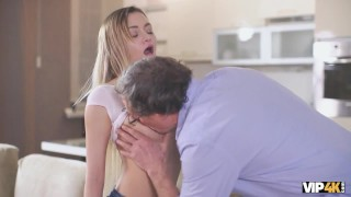 VIP4K. Seductive dollface gives a head and juicy pussy to old man